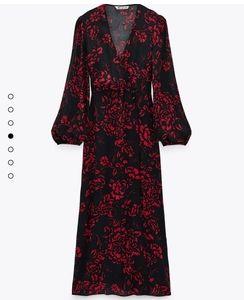 Zara black red floral printed midi dress